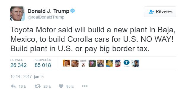 Donald Trump Twitter-üzenete a Toyotának