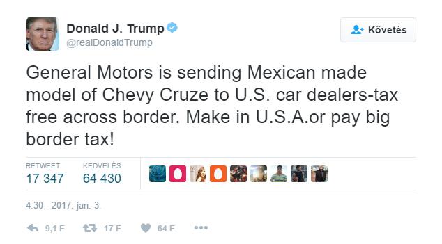 Donald Trump Twitter-üzenetben vádolta a General Motors-t