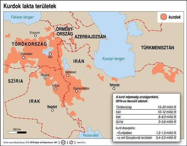 A kurd népesség országonként, 2016-os becsült adatok, millió fő - forrás: MTI