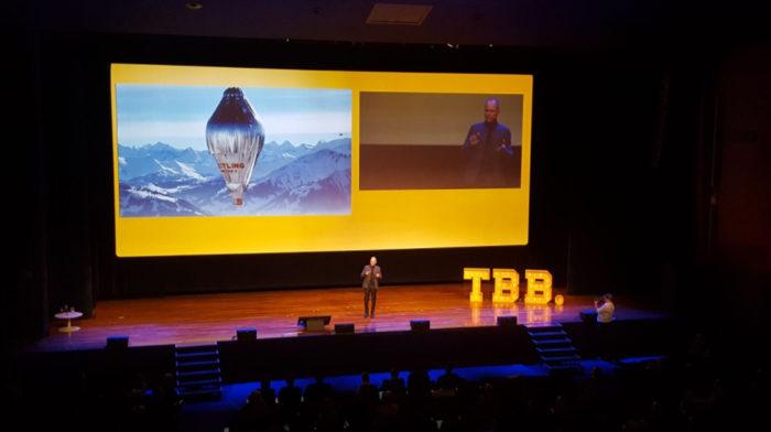 Piccard előadása a TBB konferencián, Fotó: Twitter