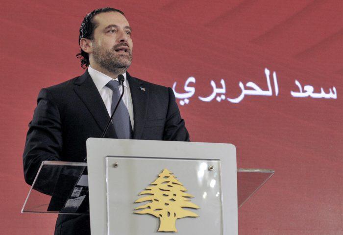 A libanoni miniszterelnök Szaad Haríri egy konferencián beszél 2017. november 3-án, Bejrútban. Hariri másnap bejelentette lemondását arra hivatkozva, hogy olyan a politikai környezet, mint apja meggyilkolása idején. EPA/DALATI NOHRA HANDOUT
