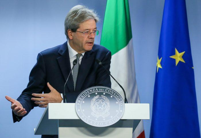 Brüsszel, 2017. december 15. Paolo Gentiloni olasz miniszterelnök az uniós országok állam- és kormányfői csúcstalálkozójának második napi ülését követő sajtóértekezleten Brüsszelben 2017. december 15-én. (MTI/EPA/Stephanie Lecocq)