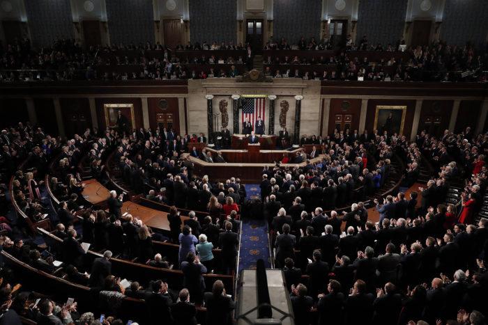 Washington, 2018. január 31. Donald Trump amerikai elnök első évértékelő beszédét mondja a törvényhozás, a kongresszus két háza előtt a washingtoni Capitoliumban 2018. január 30-án. (MTI/EPA/Michael Reynolds)