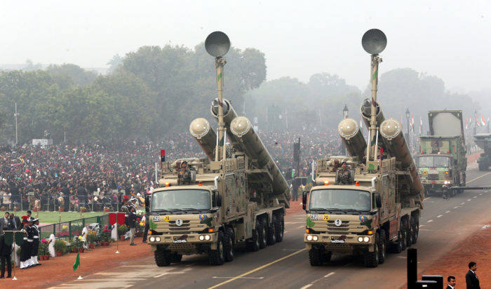 epa06475187 BrahMos weapon systems are displayed during the 69th Republic day celebration in New Delhi, India, 26 January 2018. The Republic Day of India marks the adoption of the constitution of India and the transition of India from a British Domination to a republic on 26 January 1950. EPA/HARISH TYAGI