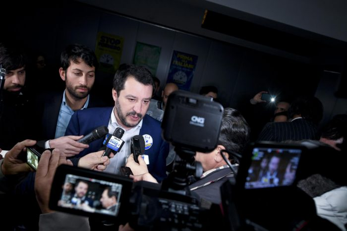 epa06551499 Federal Secretary of Italian party Lega Nord (North League / LN), Matteo Salvini, attends an electoral meeting in Calvizzano, near Naples, Italy, 21 February 2018. Italy will hold general election on 04 March.  EPA/CIRO FUSCO