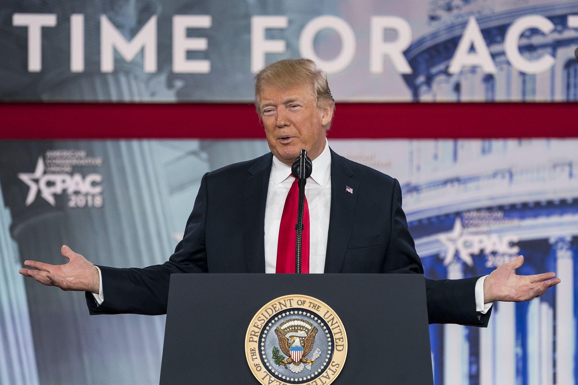Donald J. Trump amerikai elnök felszólal a 45. CPAC konferencián 2018. február 23-án. Az elnük kihasználta a lehetőséget, hogy új szankciókat jelentsen be Észak-Korea ellen. EPA/JIM LO SCALZO