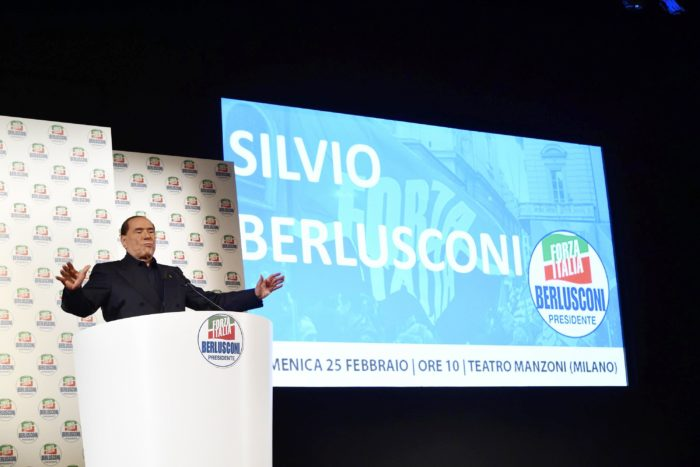 epa06564368 Former Italian premier Silvio Berlusconi delivers a speech during during a Fora Italia party electoral event in Milan, Italy, 25 February 2018. Leaders of Italian political parties are campaigning for the 04 March general election. EPA/FLAVIO LO SCALZO