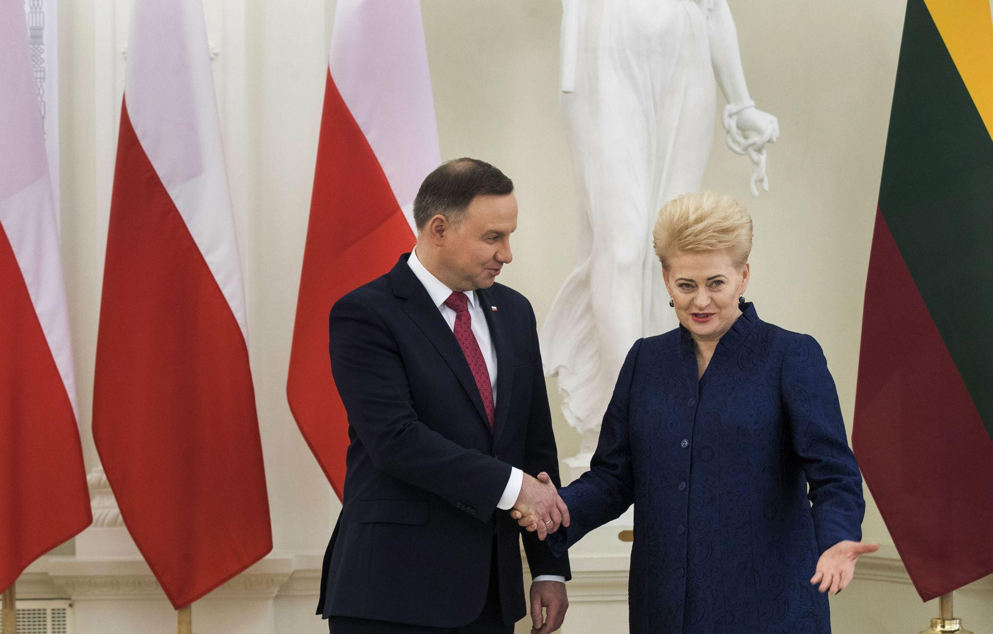 Dalia Grybauskaite litván államfő (j) fogadja a megbeszélésükre érkező lengyel hivatali partnerét, Andrzej Dudát a vilniusi elnöki palotában 2018. február 17-én. (MTI/AP/Mindaugas Kulbis)