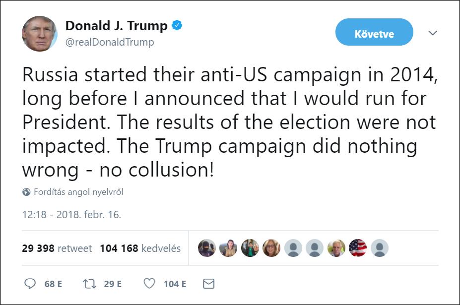 Forrás: Donald J. Trump Twitter