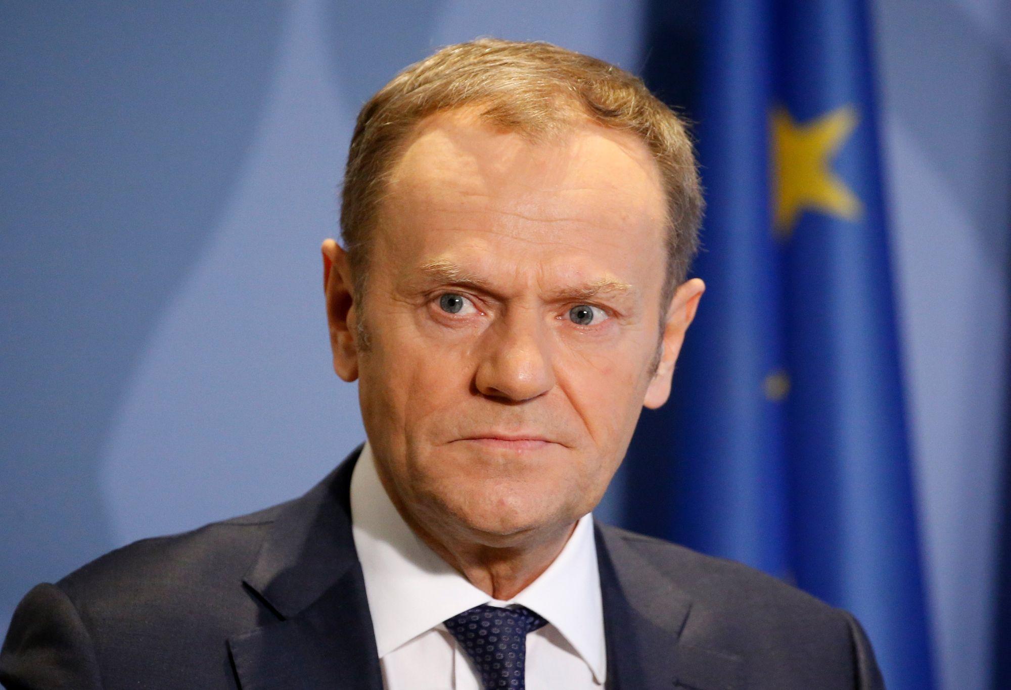 Donald Tusk, az Európai Tanács elnöke sajtótájékoztatót tart Luxembourgban 2018. március 7-én. A sajtótájékoztató témája a Brexit-tárgyalások tervezett  irányelveinek ismertetése.  EPA/JULIEN WARNAND