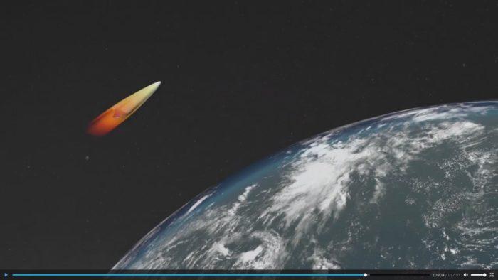 Moszkva, 2018. március 2.  Az orosz elnök hivatalos honlapja által közreadott, videóról készült kép a rakétavédelmi fegyverek észlelésének és megsemmisítésének zónáinak megkerülésével célba érõ, hiperszonikus rakéta robbanófeje manõverezésének számítógépes szimulációjáról. A videót Vlagyimir Putyin orosz elnöknek a manõverezõ nukleáris fegyverek kifejlesztésérõl tartott beszámolója alatt mutatták be Moszkvában 2018. március 1-jén.  (MTI/EPA/Orosz elnök hivatalos honlapja)