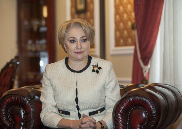 epa06568665 The Prime Minister of Romania Viorica Dancila pictured at the tete-a-tete meeting with the Prime Minister of Moldova Pavel Filip (not seen) during her first visit in Chisinau, Moldova, 27 February 2018. EPA/STRINGER