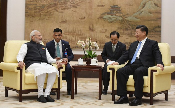 epa06696247 A handout photo made available by the Ministry of External Affairs, Government of India shows Indian Prime Minister Narendra Modi (L) meeting with Chinese President Xi Jinping (R) in Wuhan, Hubei province, China, 27 April 2018. Prime Minister Modi is in Wuhan for a two-day informal summit with Chinese President Xi Jinping. EPA/INDIAN MINISTRY OF EXTERNAL AFFAIRS HANDOUT HANDOUT EDITORIAL USE ONLY/NO SALES