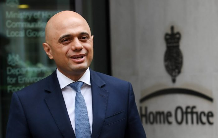 epa06702218 Sajid Javid meets the press following his appointment as the new British Home Secretary following resignation of Amber Rudd in London, Britain, 30 April 2018. Rudd had resigned over a scandal, in which the Home Office reportedly destroyed thousands of landing cards documenting the arrival of windrush-era migrants to Britain, with those threatened with deportation, sacking and the removal of healthcare, as a result of the government's 'hostile environment' strategy, media reported.  EPA/ANDY RAIN