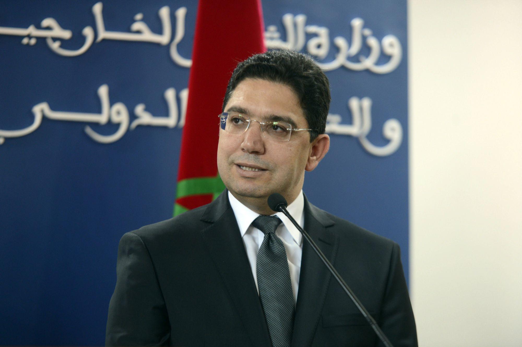 A marokkói külügyminiszter, Neszer Burita egy sajtótájékoztatón Rabatban, Marokkóban 2018. április 20-án.  EPA/STR